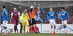 Arbroath keeper Sandy Wood up in the opposition goalmouth and despairing after trying to connect with an attacking corner kick in the last minute