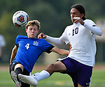 Columbia midfielder Jonah James (left) and Mascoutah midfielder Christian Gonzalez battle for the ball. Columbia defeated Mascoutah 5-0 to win the Nike Bracket in the Metro Cup Boys Soccer Tournament on Saturday August 25, 2018.<br /> Tim Vizer/Special to STLhighschoolsports.com
