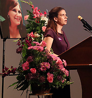 Denise Ratcliff-Kennedy, cousin of Heather Heyer, spoke during a memorial for her Wed., August 16, 2017, at the Paramount Theater in Charlottesville, Va. Heyer was killed the previous weekend when a vehicle drove into a crowd of counter-protestors after the Unite The Right rally. Photo/Andrew Shurtleff