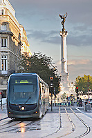 The modern tram. The Monument aux Girondins. Bordeaux city, Aquitaine, Gironde, France