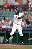 Tri-City ValleyCats outfielder / first baseman Ariel Ovando (21) at bat during a game against the Batavia Muckdogs on August 2, 2014 at Joseph L. Bruno Stadium in Troy, New  York.  Tri-City defeated Batavia 8-4.  (Mike Janes/Four Seam Images)