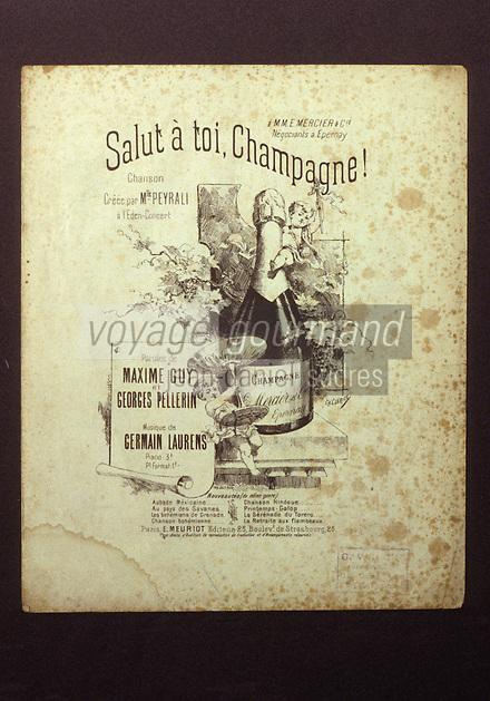 Europe/France/Champagne-Ardenne/51/Marne/Epernay: Musée municipal - Partition de champagne Mercier 1900