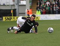 Lee Mair brings down Anthony Watt in the St Mirren v Celtic Clydesdale Bank Scottish Premier League match played at St Mirren Park, Paisley on 20.10.12.