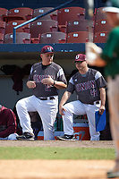 Union Dutchmen coaches Paul Mounds (12) and Jeff Mound (44) during a game against the Farmingdale Rams on March 21, 2016 at Chain of Lakes Stadium in Winter Haven, Florida.  Farmingdale defeated Union 17-5.  (Mike Janes/Four Seam Images)