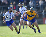 David McInerney of Clare  in action against Michael Walsh of Waterford  during their National League game at Cusack Park. Photograph by John Kelly.