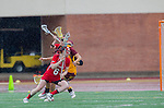 Los Angeles, CA 02/28/14 - Kelsey Dreyer (USC #31) and Kara McHugh (Marist #6) in action during the Marist Red Foxes vs University of Southern California Trojans NCAA Women's lacrosse game at Loker Track Stadium on the USC Campus.  Marist defeated USC 12-10.