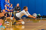 18 October 2015: Yeshiva University Maccabee Libero Shaina Hourizadeh, a Junior from Englewood, NJ, digs during game action against the College of Mount Saint Vincent Dolphins at the Peter Sharp Center, in Riverdale, NY. The Dolphins defeated the Maccabees 3-0 in the NCAA Division III Women's Volleyball Skyline matchup. Mandatory Credit: Ed Wolfstein Photo *** RAW (NEF) Image File Available ***