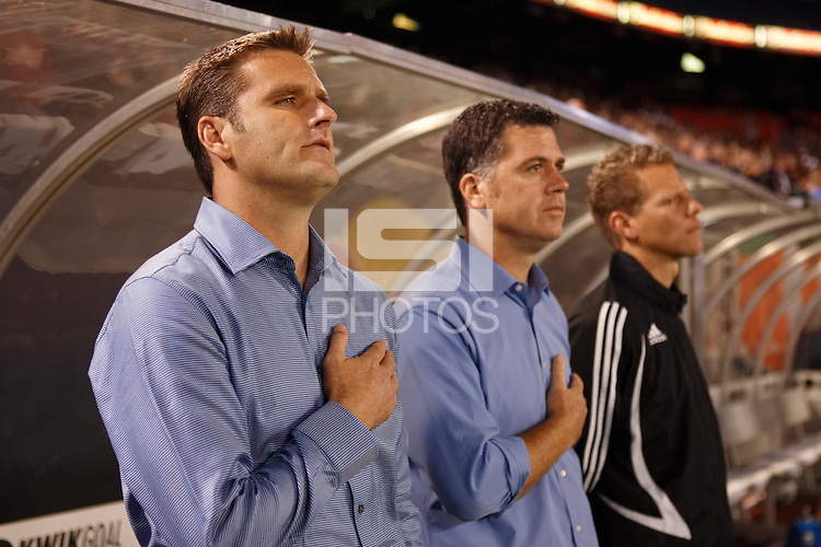 Kansas City Wizards head coach Curt Onalfo, assistant coach Kris Kelderman, and goalkeeper/fitness coach David Tenney. The New York Red Bulls defeated the Kansas City Wizards 2-1 during an MLS regular season match at Giants Stadium in East Rutherford, NJ, on October 13, 2007.