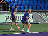 Moscow, Russia, 13 th July, 2016, Tennis,  Davis Cup Russia-Netherlands, Training Dutch team, Fysio Edwin Visser warming up  Tim van Rijthoven(NED)<br /> Photo: Henk Koster/tennisimages.com