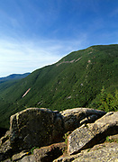 Crawford Notch from Mount Willard in the White Mountains, New Hampshire. Mount Willey can be seen on the right. The route of the old Maine Central Railroad can be seen below Mount Willey.