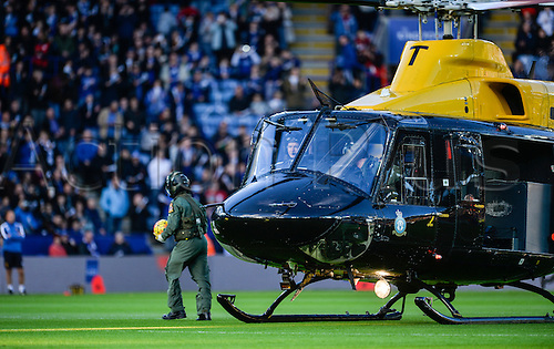 07.11.2015. King Power Stadium, Leicester, England. Barclays Premier League. Leicester versus Watford. The match ball is brought to the ground by helicopter as part of the Remembrance Day celebrations.