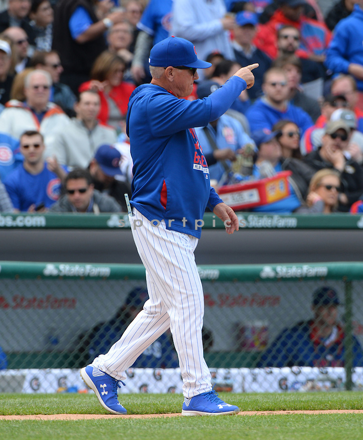 Chicago Cubs Joe Maddon (70) during a game against the New York Mets on May 14, 2015 at Wrigley Field in Chicago, IL. The Cubs beat the Mets 6-5.
