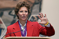 2004 Hall of Fame inductee Michelle Akers during her acceptance speech. on Monday October 11, 2004 at the National Soccer Hall of Fame and Museum, Oneonta, NY..