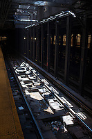 Sunlight enters the West 59th Street subway station in New York through vents, seen on Sunday, May 11, 2014. Richard B. Levine)