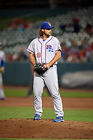 Round Rock Express relief pitcher R.J. Alvarez (18) gets ready to deliver a pitch during a game against the Memphis Redbirds on April 28, 2017 at AutoZone Park in Memphis, Tennessee.  Memphis defeated Round Rock 9-1.  (Mike Janes/Four Seam Images)