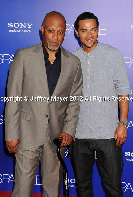 HOLLYWOOD, CA - AUGUST 16: James Pickens Jr. and Jesse L. Williams arrive for the Los Angeles premiere of 'Sparkle' at Grauman's Chinese Theatre on August 16, 2012 in Hollywood, California.