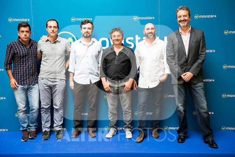 "Koldo Zuazua, Juan Moreno, Alberto Sanchez Cabezudo, Eduardo Fernandez and Jorge Sanchez Cabezudo during the presentation of the spanish new series for Movistar+ ""La Zona"" in Madrid. July 19. Spain 2016. (ALTERPHOTOS/Borja B.Hojas)"