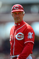 Cincinnati Reds third base coach Chris Speier #35 during a game against the Miami Marlins at Great American Ball Park on April 20, 2013 in Cincinnati, Ohio.  Cincinnati defeated Miami 3-2 in 13 innings.  (Mike Janes/Four Seam Images)