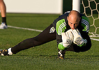 Kasey Keller of Sounders warms up during practice before the game against the Earthquakes at Buck Shaw Stadium in Santa Clara, California on April 2nd, 2011.   San Jose Earthquakes and Seattle Sounders are tied 2-2.