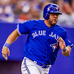 26 March 2018: Toronto Blue Jays designated hitter Kendrys Morales in action during an exhibition game against the St. Louis Cardinals at Olympic Stadium in Montreal, Quebec, Canada. The Cardinals defeated the Blue Jays 5-3 in the first of two MLB pre-season games in the former home of the Montreal Expos. Mandatory Credit: Ed Wolfstein Photo *** RAW (NEF) Image File Available ***