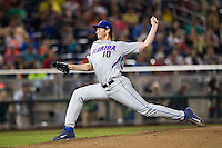 Florida Gators starting pitcher A.J. Puk (10) delivers a pitch to the plate during the NCAA College baseball World Series against the Virginia Cavaliers on June 15, 2015 at TD Ameritrade Park in Omaha, Nebraska. Virginia defeated Florida 1-0. (Andrew Woolley/Four Seam Images)