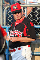 Batavia Muckdogs pitching coach Ace Adams during a game vs. the Lowell Spinners at Dwyer Stadium in Batavia, New York July 14, 2010.   Batavia defeated Lowell 12-2.  Photo By Mike Janes/Four Seam Images