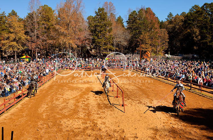 Actors at the annual Carolina Renaissance Festival entertain the audience with a jousting competition. The annual Renaissance Festival and Fair takes place each October and November in Huntersville, NC, near Charlotte, NC.