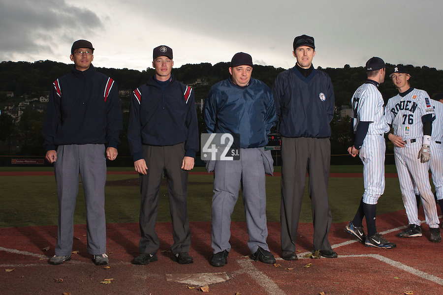 23 October 2010: Umpires Paul Nguyen, Serge Makouchetchev, Fabien Carette-Legrand, Franck Lautier are seen prior to Savigny 8-7 win (in 12 innings) over Rouen, during game 3 of the French championship finals, in Rouen, France.