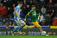 Preston North End's Sean Maguire under pressure from Blackburn Rovers' Darragh Lenihan<br /> <br /> Photographer Kevin Barnes/CameraSport<br /> <br /> The EFL Sky Bet Championship - Blackburn Rovers v Preston North End - Saturday 11th January 2020 - Ewood Park - Blackburn<br /> <br /> World Copyright © 2020 CameraSport. All rights reserved. 43 Linden Ave. Countesthorpe. Leicester. England. LE8 5PG - Tel: +44 (0) 116 277 4147 - admin@camerasport.com - www.camerasport.com