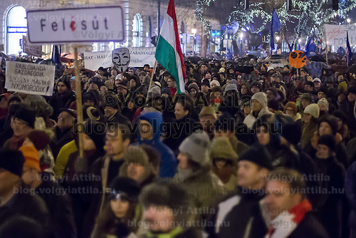 Protest against government corruption in central Budapest, Hungary on January 02, 2015. ATTILA VOLGYI