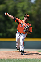 Baltimore Orioles pitcher Francisco Jimenez (40) during a minor league spring training game against the Minnesota Twins on March 28, 2015 at the Buck O'Neil Complex in Sarasota, Florida.  (Mike Janes/Four Seam Images)
