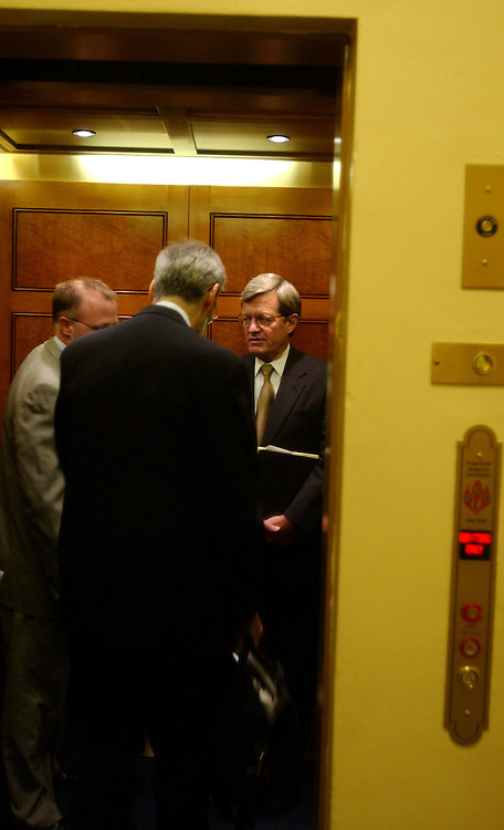 baucus/051203 - Sen. Max Baucus, D-Mont., ranking member on the Senate Finance Committee boards an elevator going to the Senate Floor to start the debate of the Tax Bill.