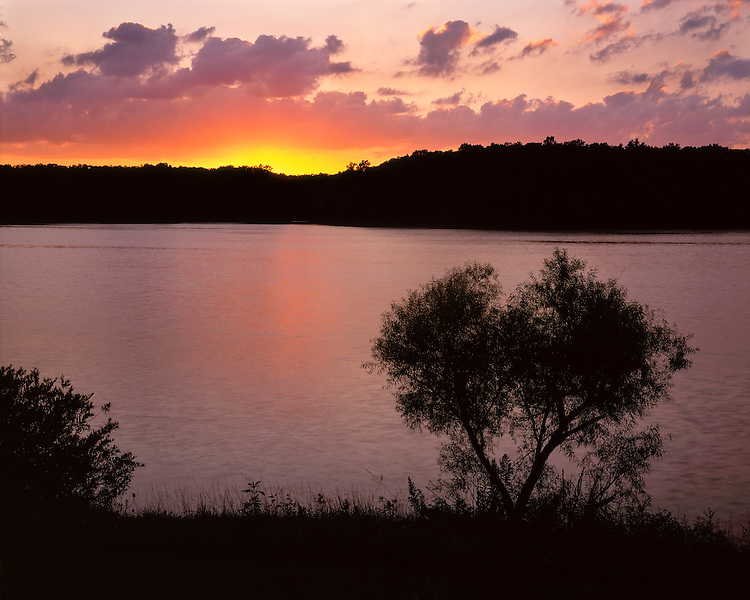 Sunset light on Lake Dawson; Moraine View State Recreation Area, IL