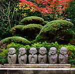 Six cute little monks, Buddhas, stone statues, kawaii garden decor in Kyoto, Japan