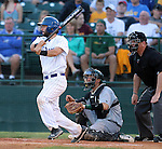 SIOUX FALLS, SD - MAY 22: Sam Pack #8 from South Dakota State watches the ball on a base hit against North Dakota State in the fifth inning Thursday night in the first round of the Summit League Baseball Tournament in Sioux Falls. (Photo by Dave Eggen/Inertia)