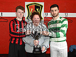 Laytown United captain Lee Conroy and Donacarney Celtic Captain Ben Mooney with max's mother Tracy Woods and the Max Mason memorial trophy. Photo:Colin Bell/pressphotos.ie