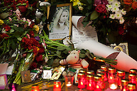 Moscow, Russia, 30/03/2010..Portrait of student Tatyana Akimova at a makeshift shrine on the spot inside Lubyanka metro station where a female suicide bomber blew herself up the previous day. At least 39 people were killed and 80 injured in the double blasts at Moscow metro stations during the morning rush hour.