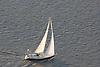 Aerial views of sailboat along the Delaware river