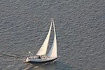 Aerial views of sailboat along the Delaware river
