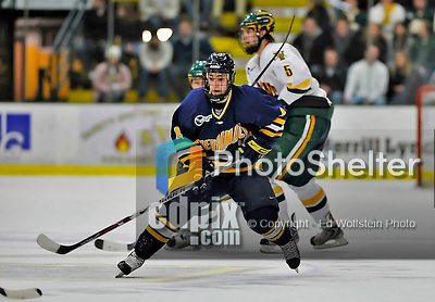 15 February 2008: Merrimack College Warriors' forward Joe Cucci, a Freshman from Melrose Park, IL, in action against the University of Vermont Catamounts at Gutterson Fieldhouse in Burlington, Vermont. The Catamounts defeated the Warriors 4-1 in the first game of their 2-game weekend series...Mandatory Photo Credit: Ed Wolfstein Photo