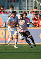 24 June2009: New York Red Bulls defender Alfredo Pacheco #16 and Toronto FC defender Nana Attakora-Gyan #3 in action at BMO Field in Toronto, in a game between the New York Red Bulls and Toronto FC. Toronto FC won 2-0..