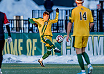 13 November 2019: University of Vermont Catamount Defender Noah Egan, a Freshman from Irvine, CA, in action against the University of Hartford Hawks at Virtue Field in Burlington, Vermont. The Catamounts fell to the visiting Hawks 3-2 in sudden death overtime of the Division 1 Men's Soccer America East matchup. Mandatory Credit: Ed Wolfstein Photo *** RAW (NEF) Image File Available ***