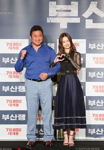 "Jung Yu-mi and Ma Dong-Seok, June 21, 2016 : Cast members Jung Yu-mi (R) and Ma Dong-Seok attend a press conference for their new movie,""Train to Busan"" in Seoul, South Korea. The zombie-action movie was filmed by recognized animator, Yeon Sang-ho and was premiered at Cannes Film Festival in the out of competition ""Midnight Screenings"" category this year. (Photo by Lee Jae-Won/AFLO) (SOUTH KOREA)"