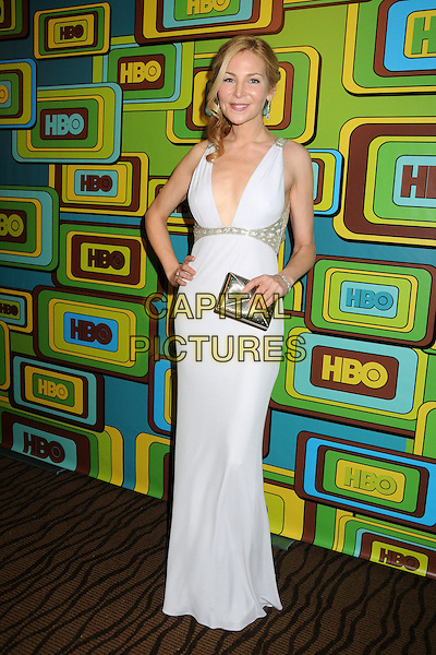 JENNIFER WESTFELDT.HBO 2011 Post Golden Globe Awards Party held at The Beverly Hilton Hotel, Beverly Hills, California, USA..January 16th, 2011.full length hand on hip white dress silver clutch bag .CAP/ADM/BP.©Byron Purvis/AdMedia/Capital Pictures.