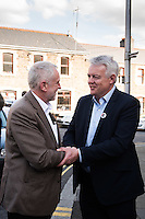 MAESTEG, Wales. 4th May 2016. On the eve of the Welsh Assembly election, Labour leader Jeremy Corbyn visits Maesteg, which will also hold a Westminster by-election for the Ogmore constituency tomorrow.<br /> <br /> Pictured: First Minister of Wales Carwyn Jones (R) welcomes Labour leader Jeremy Corbyn (L) to Maesteg.