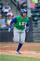 Xavier Fernandez (34) of the Lexington Legends hustles down the first base line against the Hickory Crawdads at L.P. Frans Stadium on April 29, 2016 in Hickory, North Carolina.  The Crawdads defeated the Legends 6-2.  (Brian Westerholt/Four Seam Images)