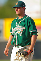 First baseman Ryan Keedy #41 of the Greensboro Grasshoppers on defense against the Hickory Crawdads at  L.P. Frans Stadium July 10, 2010, in Hickory, North Carolina.  Photo by Brian Westerholt / Four Seam Images