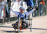 May 20, 2011 Colorado Springs, CO.   Air Force cyclist, Jeanne Goldy-Sanitate, finishes the 2011 Warrior Games  at the U.S. Air Force Academy, Colorado Springs, CO...