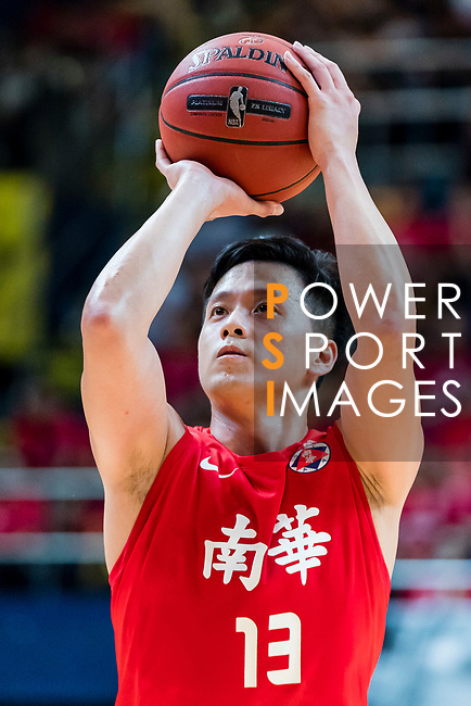 Chan Cheung Man #13 of SCAA Men's Basketball Team concentrates prior to a free throw during the Hong Kong Basketball League playoff game between SCAA and Eastern Long Lions at Queen Elizabeth Stadium on July 27, 2018 in Hong Kong. Photo by Yu Chun Christopher Wong / Power Sport Images