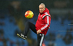 Swansea&rsquo;s care-taker manager Alan Curtis doing warm up  - Manchester City vs Swansea - Barclays Premier League - Etihad Stadium - Manchester - 12/12/2015 Pic Philip Oldham/SportImage<br /> --------------------<br /> Sport Image<br /> 15/16 Man City v Swansea City<br /> <br /> 12 December 2015<br /> &copy;2015 Sport Image all rights reserved<br /> --------------------<br /> Sport Image<br /> 15/16 Man City v Swansea City<br /> <br /> 12 December 2015<br /> &copy;2015 Sport Image all rights reserved